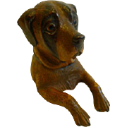 Charming Antique Novelty Black Forest Inkwell - Dog c.1890
