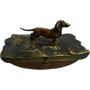 Antique Bronze Dachshund Dog Rocking Blotter c.1890