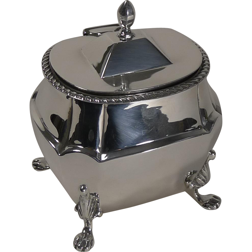 Quality Antique English Sterling Silver Tea Caddy - 1901