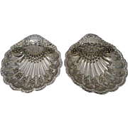 Pair Antique English Sterling Silver Reticulated Shell Dishes by Atkin Brothers
