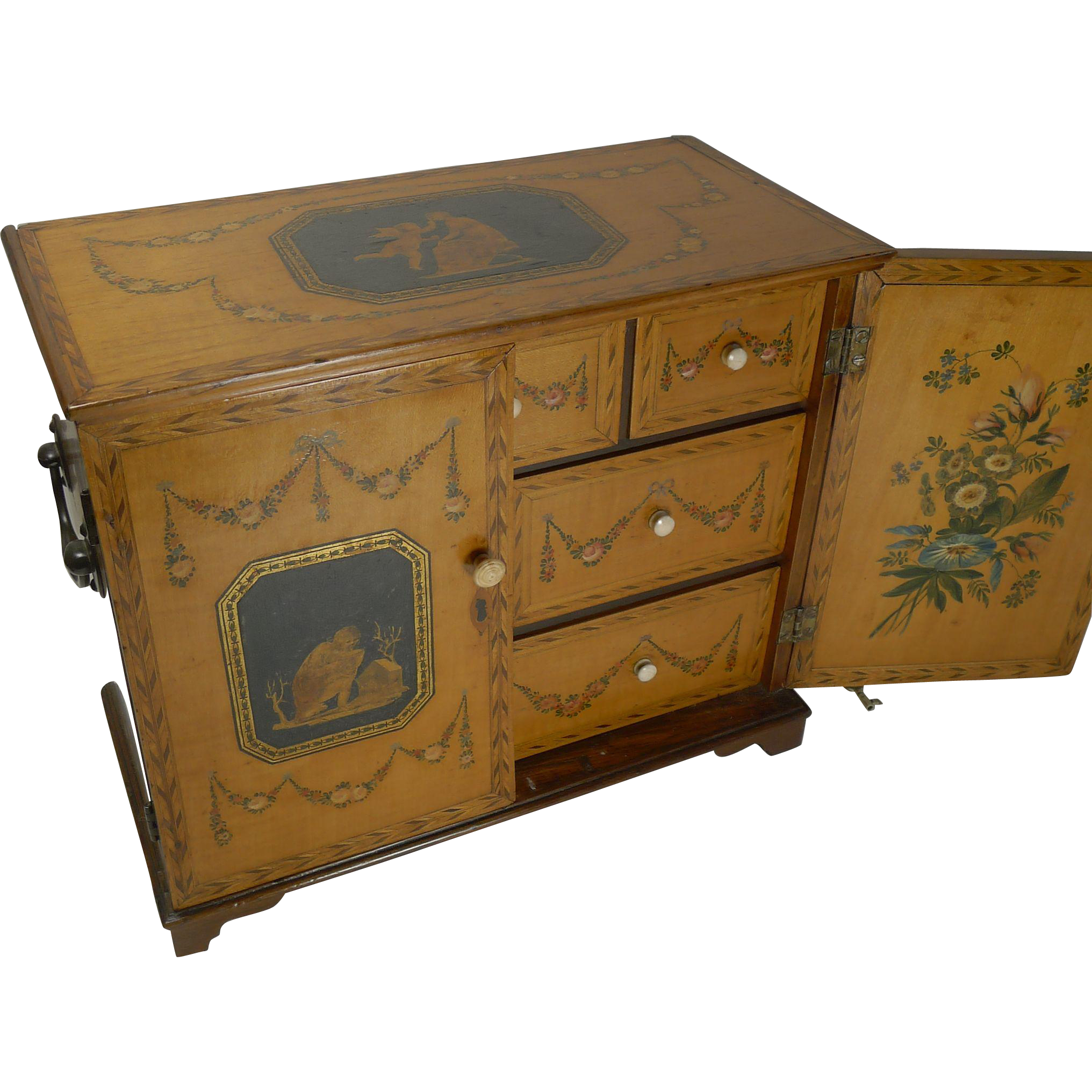 Magnificent English Regency Jewelry Cabinet - Hand Painted c.1820
