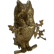 Fabulous Antique Figural Inkwell - Gilded Bronze Owl With Glass Eyes
