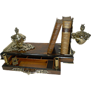 Rare Grand Antique English Walnut and Brass Book Holder / Desk Set / Inkwells c.1878