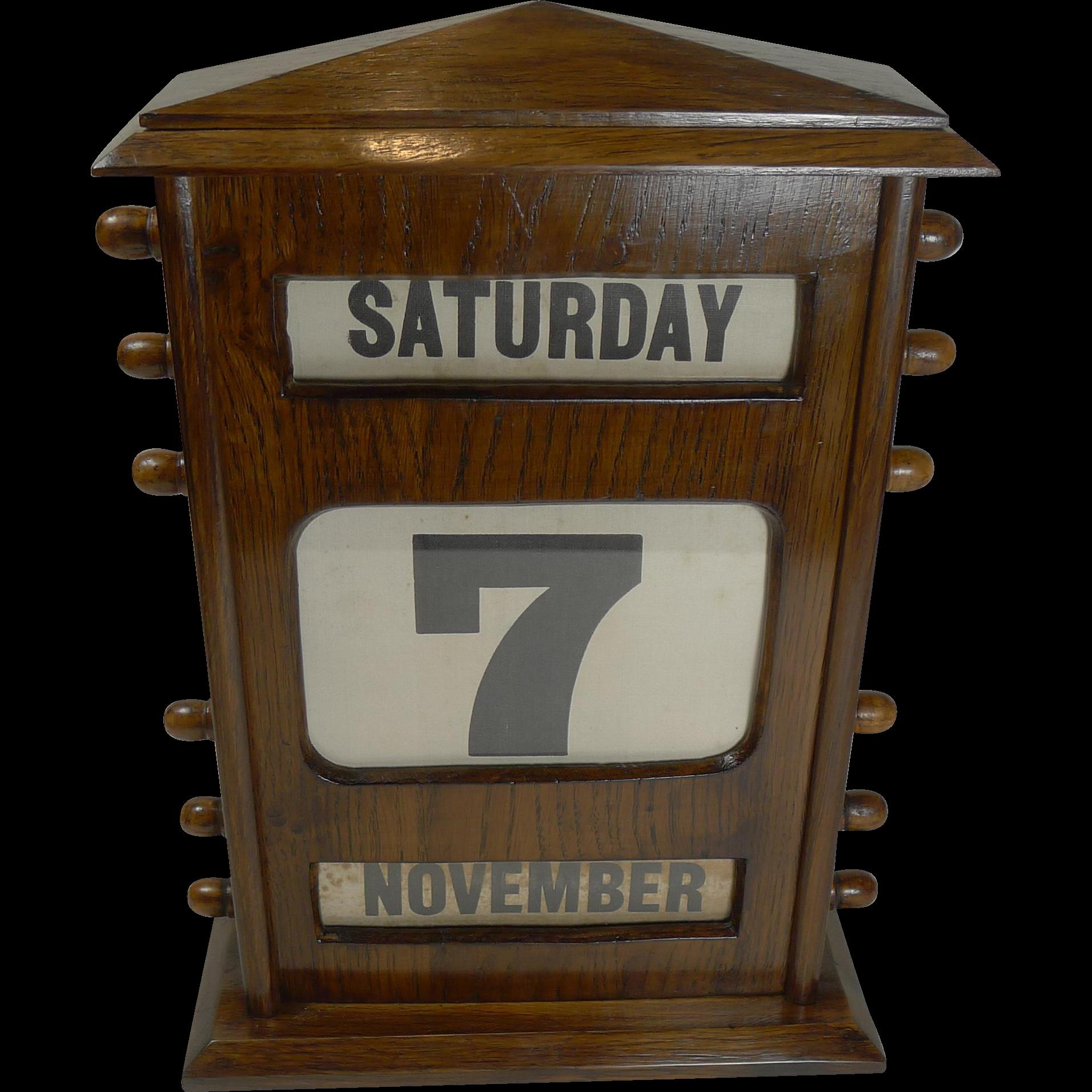 Perpetual Calendar Vintage : Large antique english oak perpetual desk calendar c