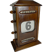 Antique English Mahogany Perpetual Desk Calendar c.1900