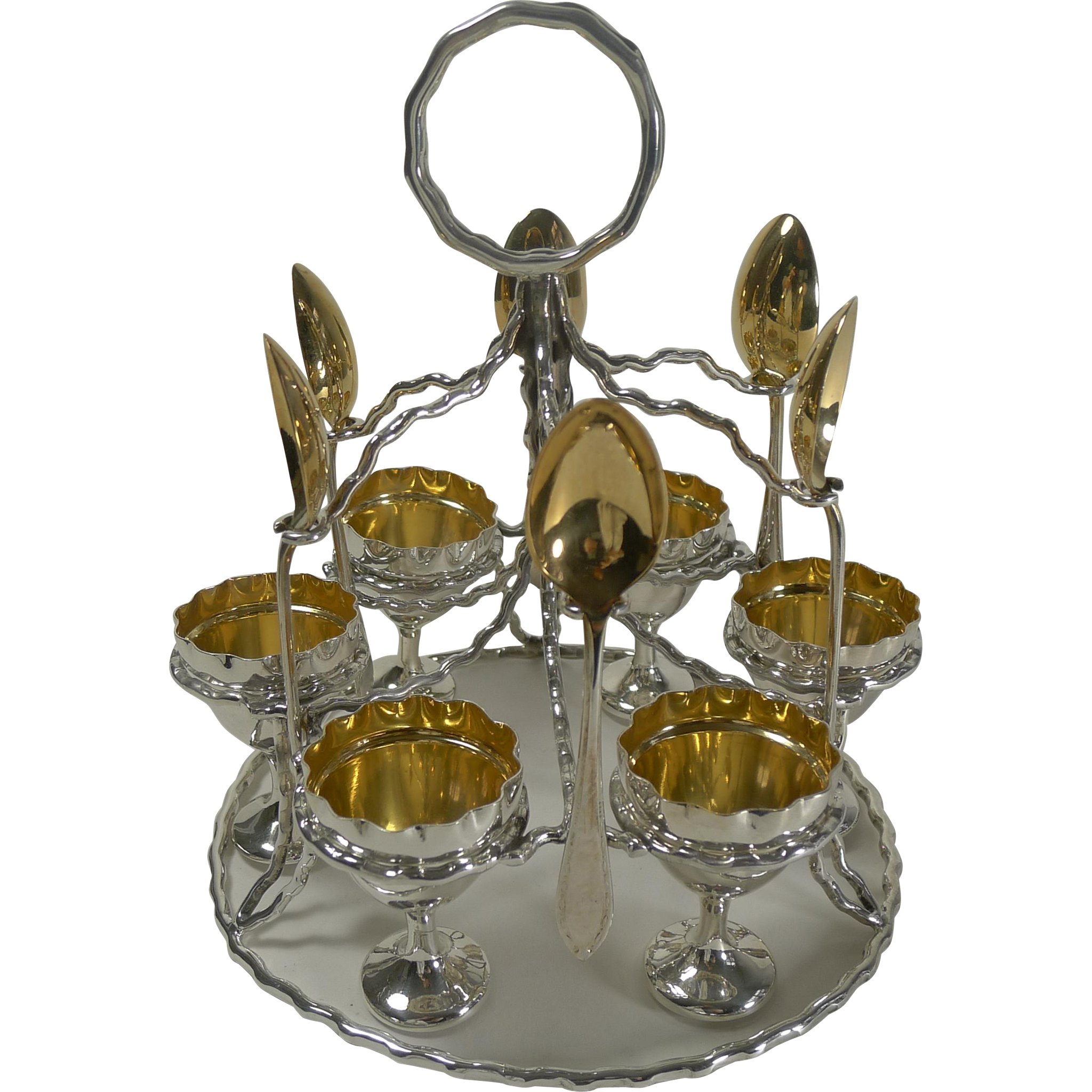 Unusual Antique English Silver Plated Egg Cruet For Six c.1900