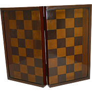 Large Antique English Folding Chess / Backgammon / Checkers Board c. 1890 /1900