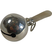 English Sterling Silver and Mother of Pearl Rattle by George Unite