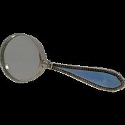 Pretty Vintage Silver Enamel Handled Magnifying Glass - 1929