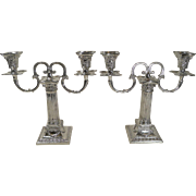 Fabulous Small Pair Corinthian Column Antique English Two Arm Candelabra - Rams Head - 1893