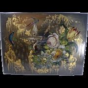 Exquisite Antique English Hand Painted Papier Mache Writing Box / Lap Desk Dated 1844