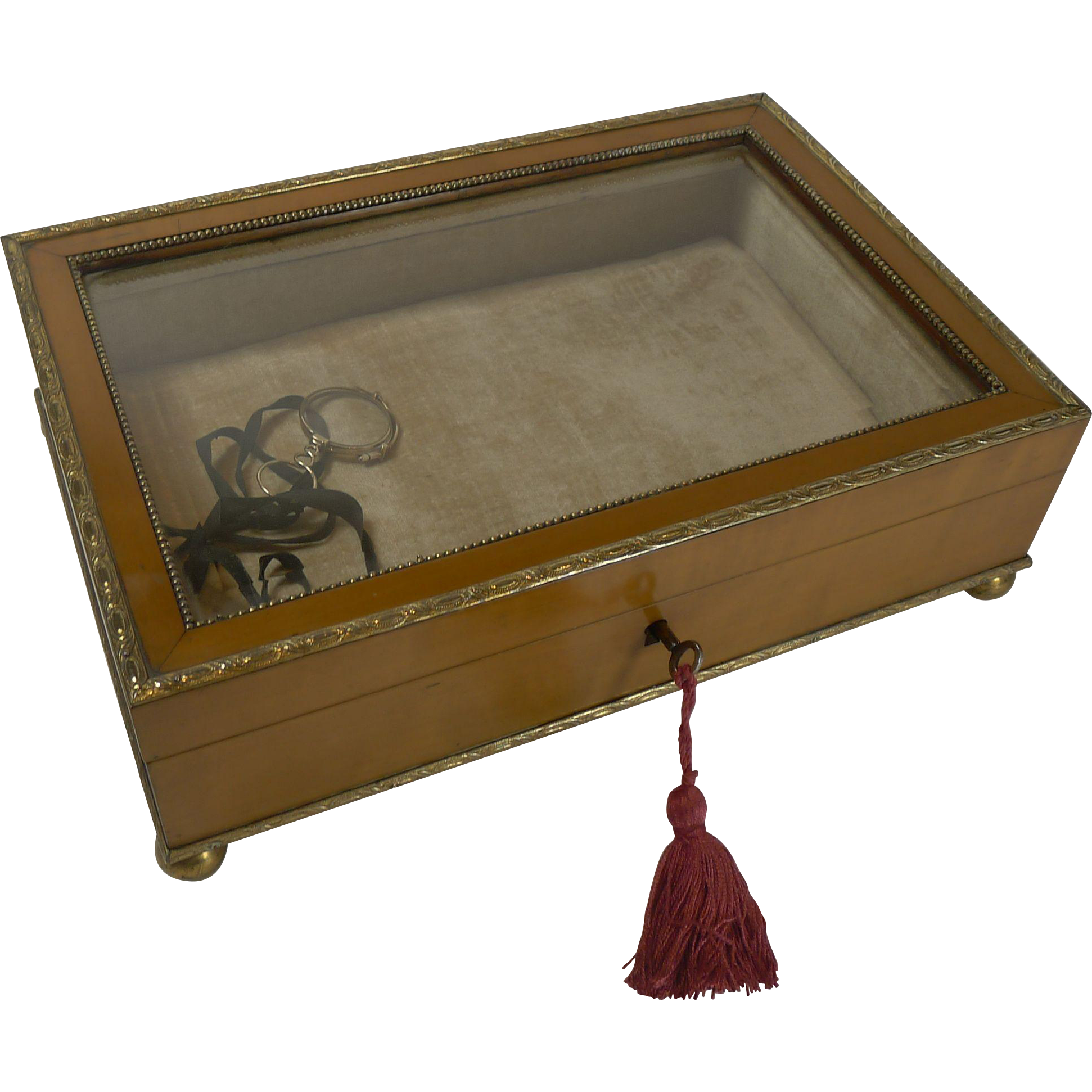 Antique English Apple Wood Display / Jewelry Box c.1880