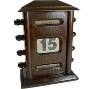 Small Antique English Dark Oak Perpetual Desk Calendar c.1900