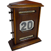 Oversized Antique English Mahogany Perpetual Calendar c.1900 - 10 1/2""