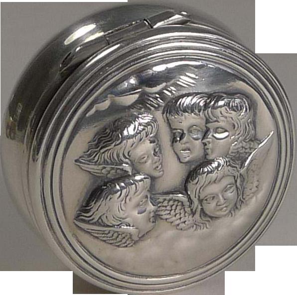 Wonderful Antique English Sterling Silver Pill Box - Reynold's Angels