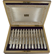 Magnificent Set 12 Fruit Knives & Forks / Mother of Pearl Handles - Levesley Brothers c.1890