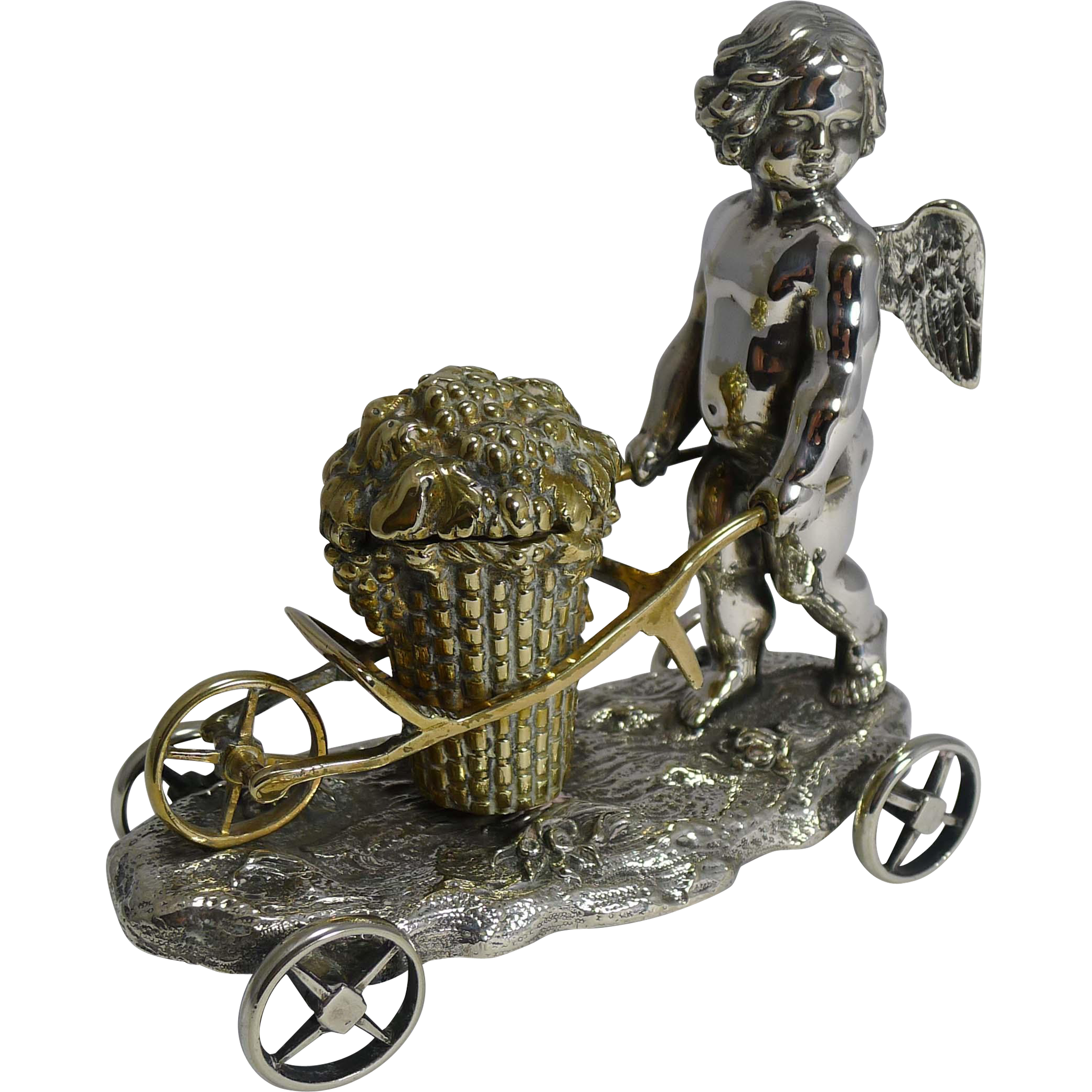 Antique English Silver Plated Cherub Inkwell by Elkington and Co. - 1848