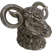 Antique English Figural Inkwell - Ram's Head c.1890