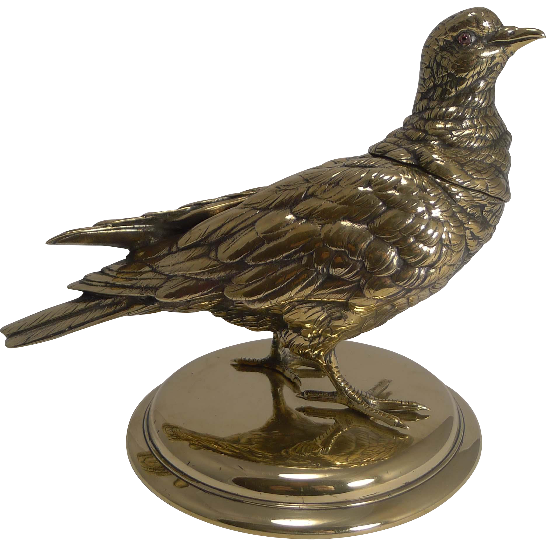 Magnificent and Impressive Antique English Figural Inkwell - Dove c.1880