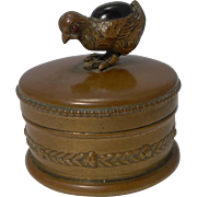 Adorable Victorian Brass Ring / Trinket Box - Figural Chick - Amethyst Coloured Stone
