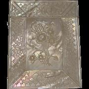 Superb Antique Carved Mother of Pearl Card Case c.1850