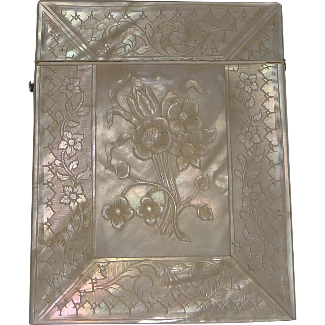 Superb Antique Carved Mother of Pearl Card Case c.1850