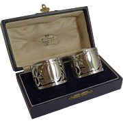 Superb Boxed Pair Antique English Sterling Silver Napkin Rings