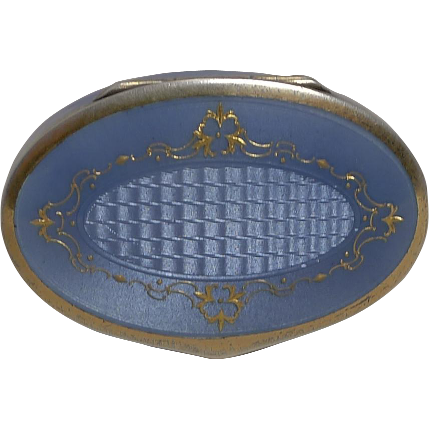 Exquisite Antique Sterling Silver and Purple Enamel Pill Box