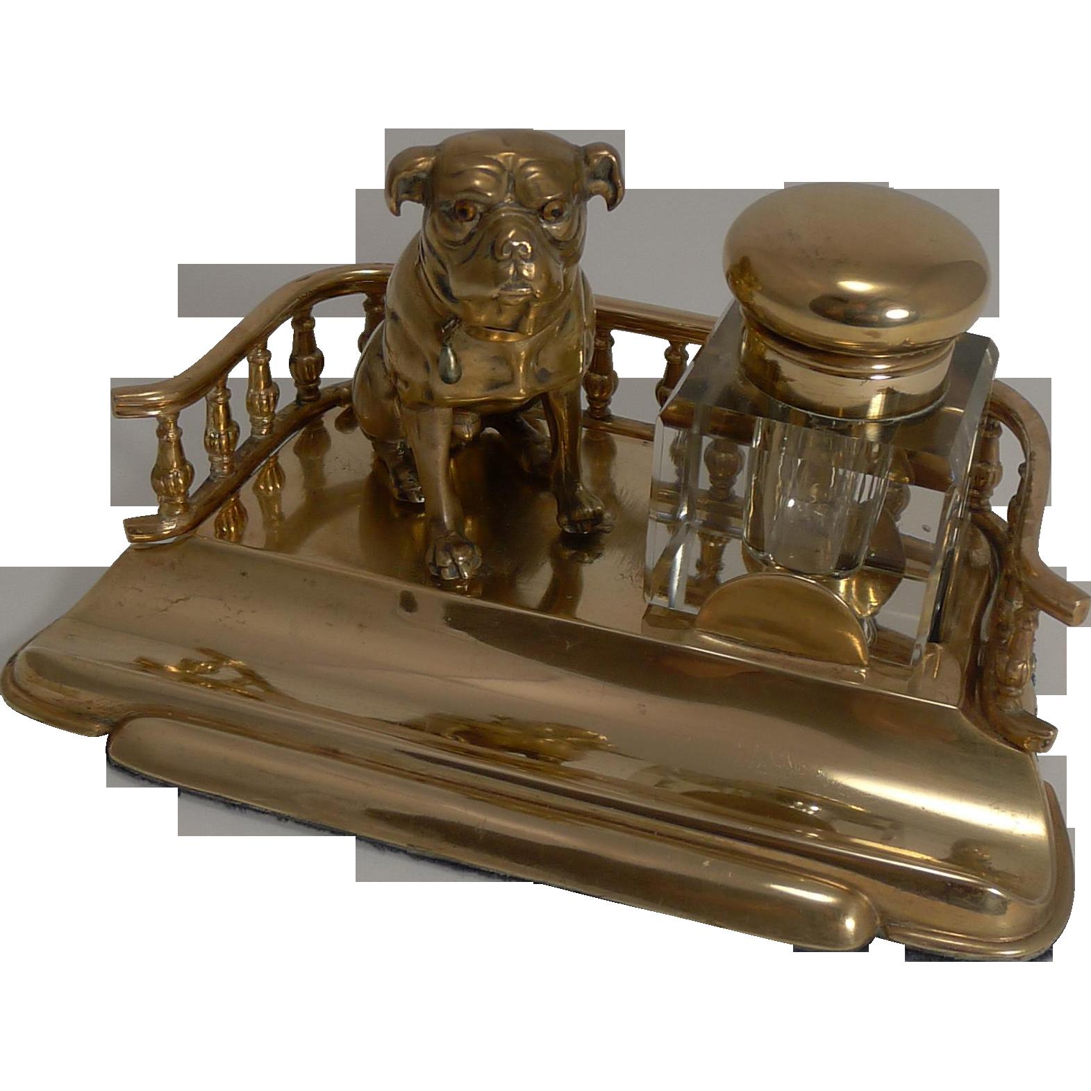 Antique English Handsome Dog Inkwell - English Bulldog c.1890