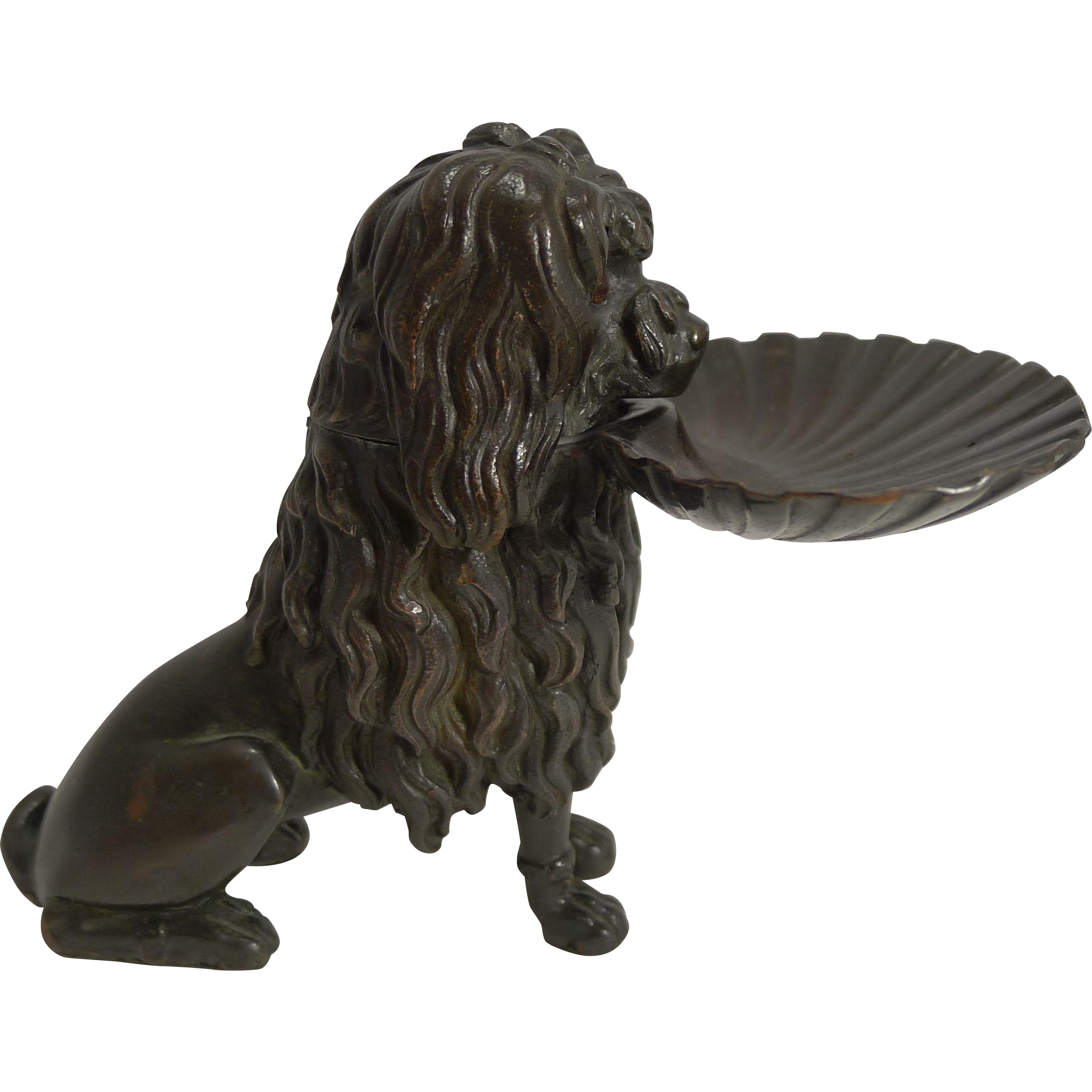 Fabulous Antique Bronze Figural Inkwell - Dog - Poodle - c.1890