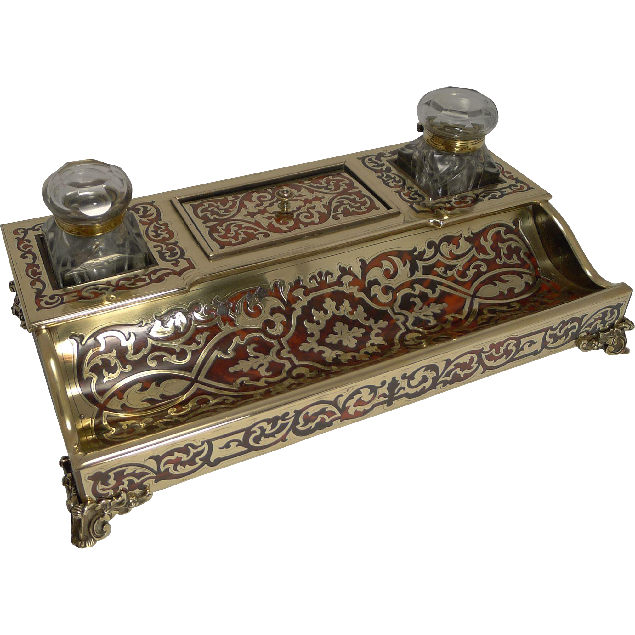Magnificent and Grand Antique French Boulle Inkstand / Inkwell c.1830