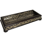 Fine Quality William IV Ebony Pen Tray With Brass Filigree Inlay c.1830