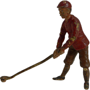 Antique Miniature Cold Painted Bronze Figure - Golfer c.1910