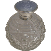 Large Globe Perfume Bottle - English Sterling Silver and Guilloche Enamel Lid - 1918