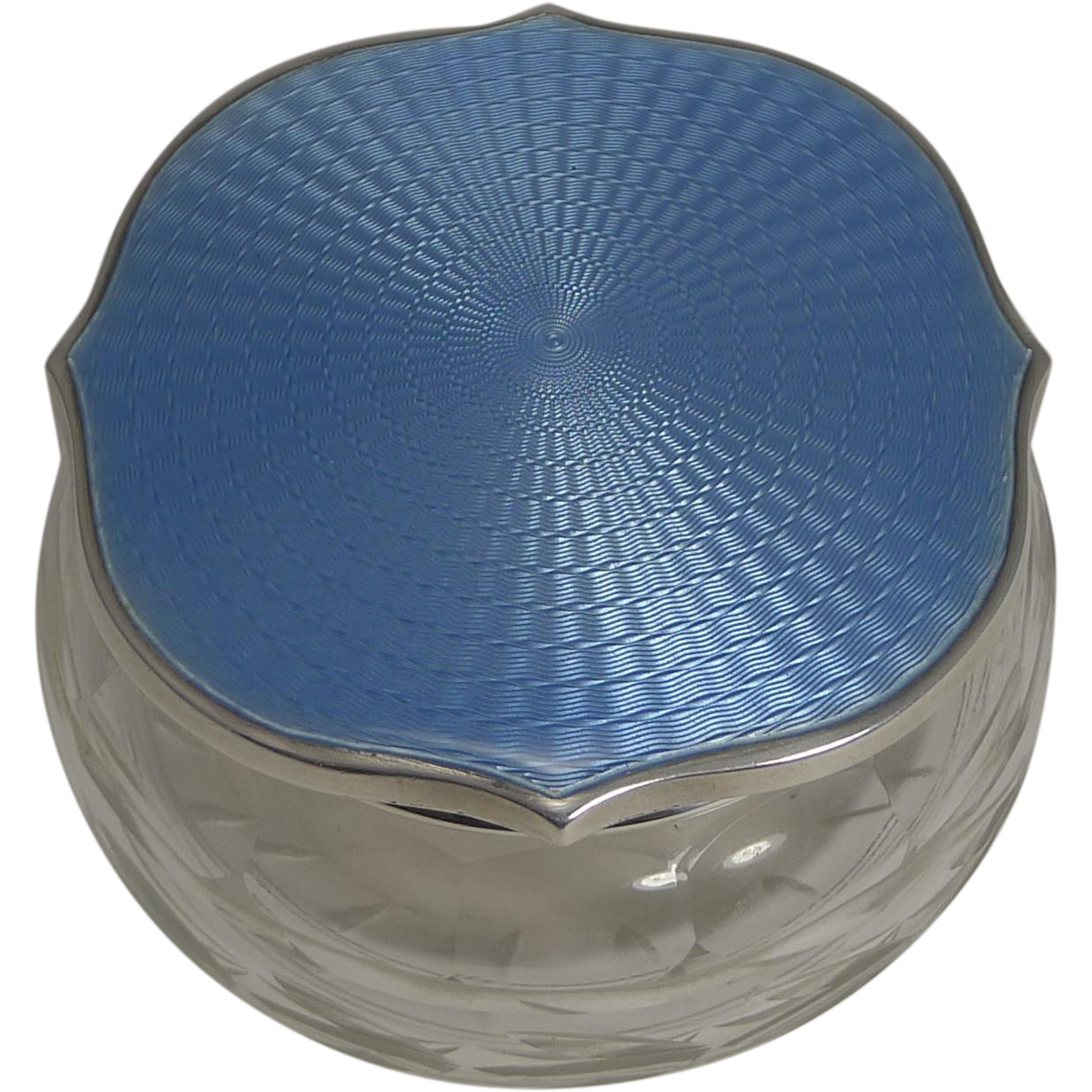 English Cut Crystal Powder Box - Sterling Silver and Blue Guilloche Enamel Lid - 1929