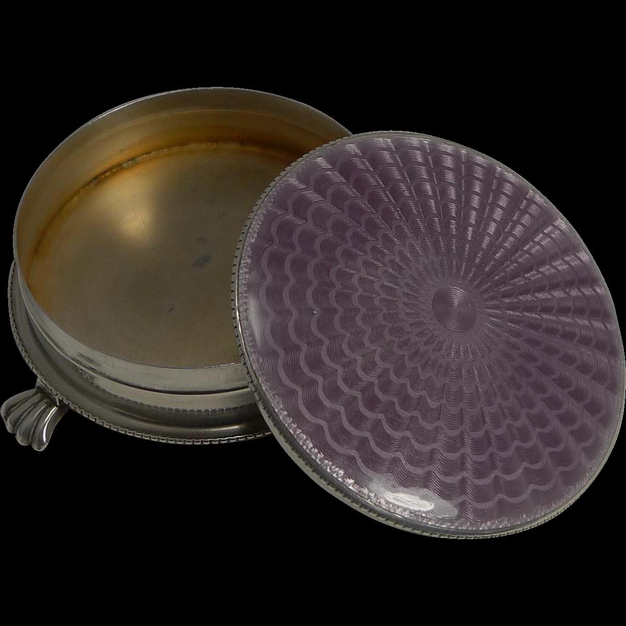 English Sterling Silver Jewelry / Trinket Box - Amethyst Guilloche Enamel