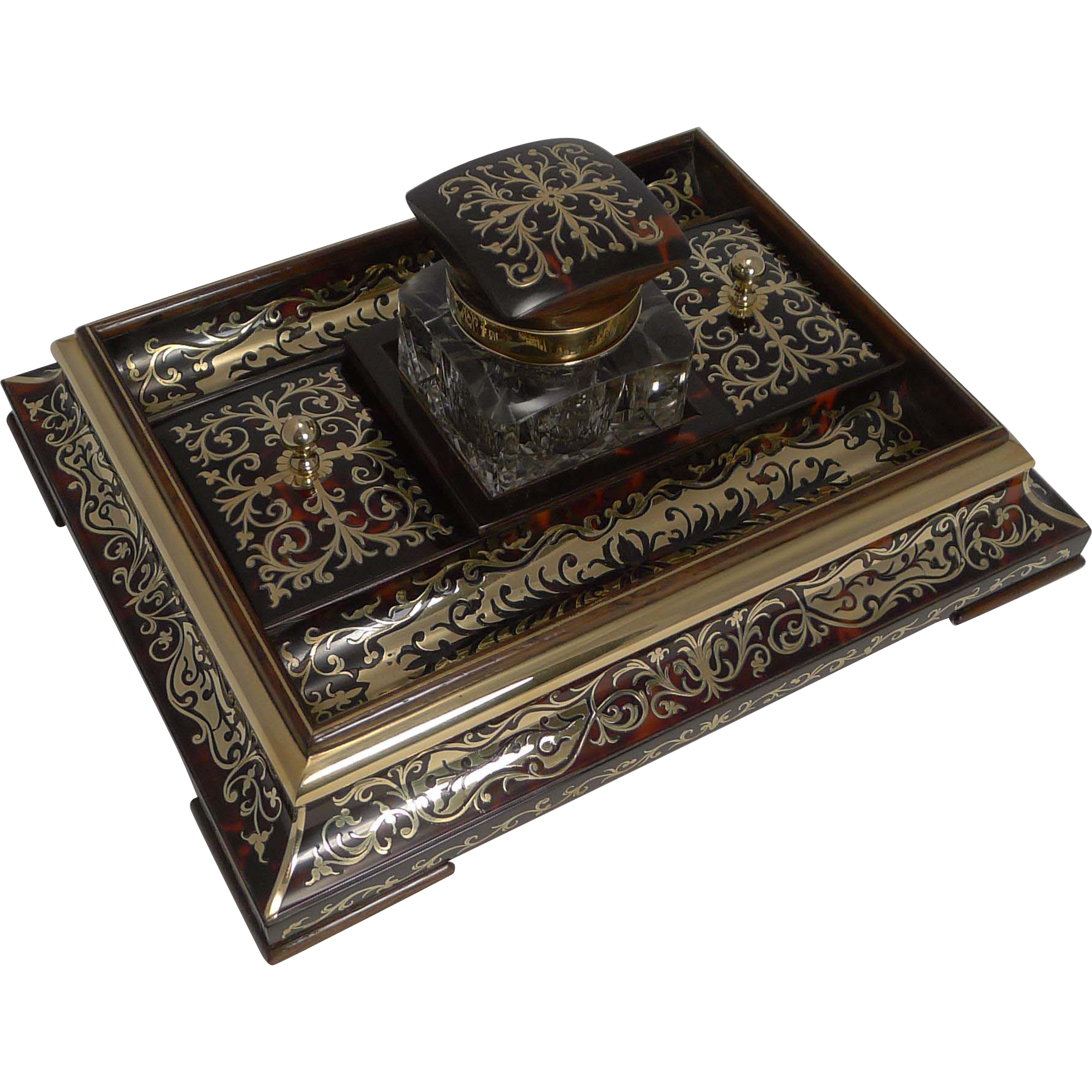 Exquisite Top Notch Boulle Inkwell c.1890