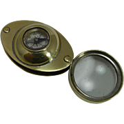 Antique c.1910 English Pocket Magnifying Glass / Loop With Compass