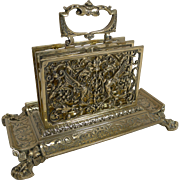 Grand Antique English Brass Stationery Rack / Letter Holder c.1890