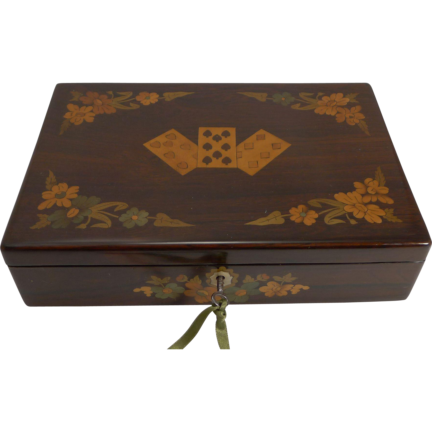 Exquisite Antique English Marquetry Inlaid Playing Card Box c.1840