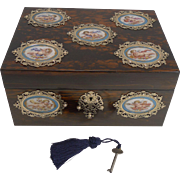Grandest Antique English Coromandel Jewelry Box - Hand Painted Cherub Porcelain Plaques c.1850