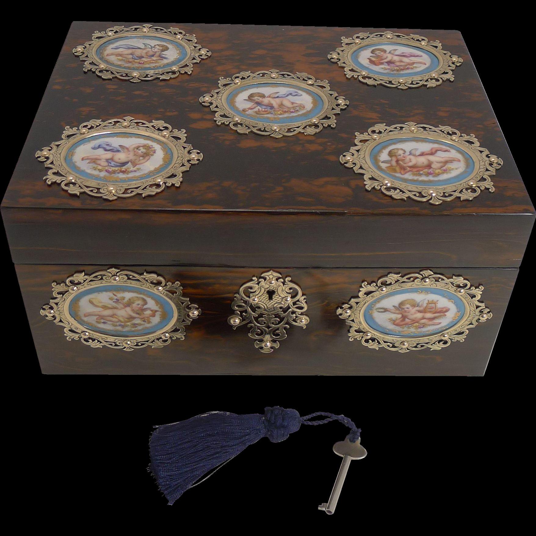 Grandest Antique English Coromandel Jewelry Box - Hand Painted Cherub Porcelain Plaques c.1850