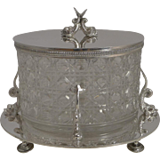 Top Quality Antqiue English Cut Crystal and Silver Plated Biscuit Box c.1890 - Dolphins