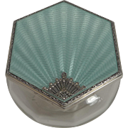 Fabulous Art Deco Vanity Box - Guilloche Enamel and  Marcasite - 1929