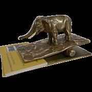 Antique English Bronze Figural Letter Clip c.1890 - Elephant