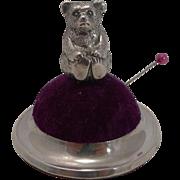 Antique Figural Sterling Silver Pin Cushion - Teddy Bear