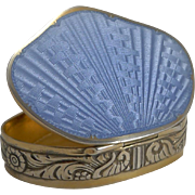 Exquisite David Anderson Sterling Silver and Guilloche Enamel Pill Box c.1910