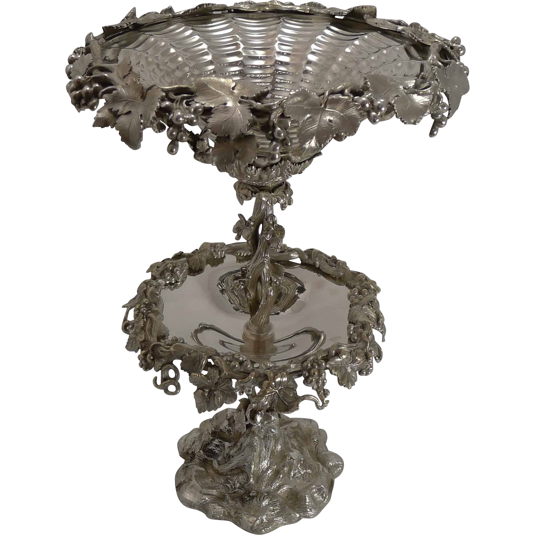 Grand English Elkington Silver Plate Fruit Centerpiece - 1857