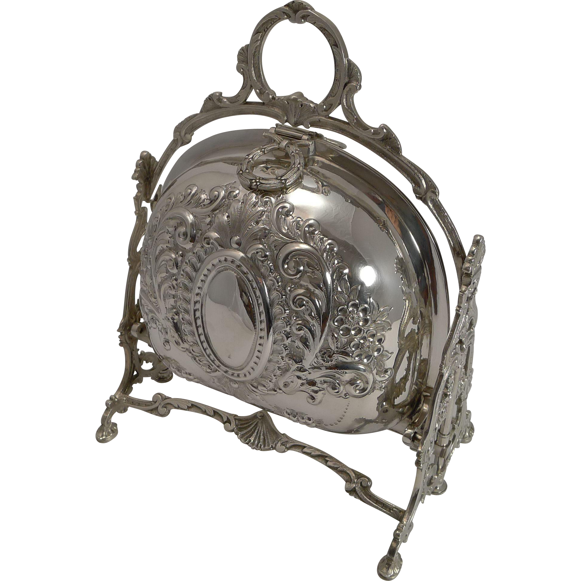 Antique English Decorative Silver Plated Staniforth's Biscuit Box Dated 1900