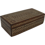Fine Brass Inlaid Solid Rosewood Arts and Crafts Box c.1910